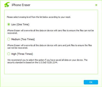 Wählen Sie das iPhone Lösch-Level