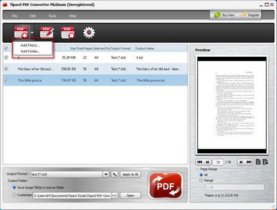 Fügen Sie PDF Dateien oder Ordner hinzu