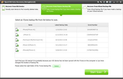 Wählen Sie iTunes Backup Dateien aus