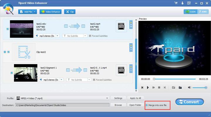 Vereinen Sie die Videos zu einer Datei