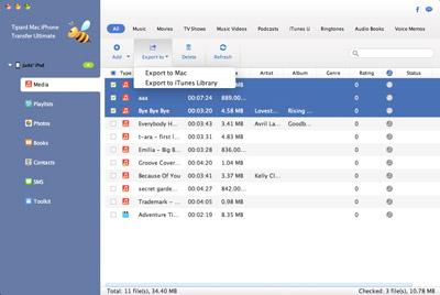 Dateien zum übertragen auswählen