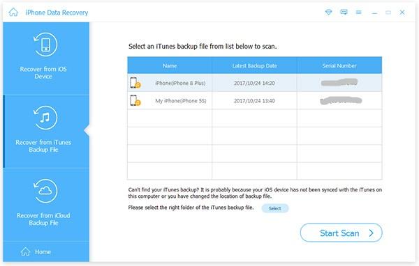 Wählen Sie den Wiederherstellungsmodus und starten Sie den iPhone Scan